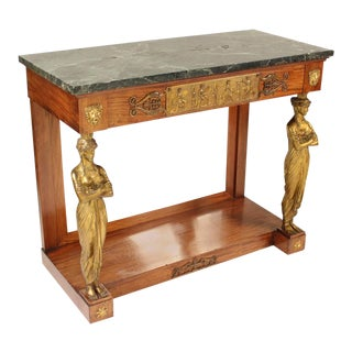 Empire Style Bronze Mounted Console Table For Sale