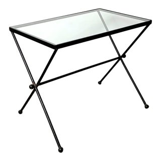 1950s French Rectangular Iron and Glass X Table For Sale