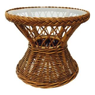 Woven Wicker & Glass Top Side Table