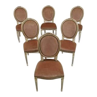Set of 6 Gorgeous Louis XVI Style French Medallion Mint Green Velvet Gilded Dining Chairs For Sale