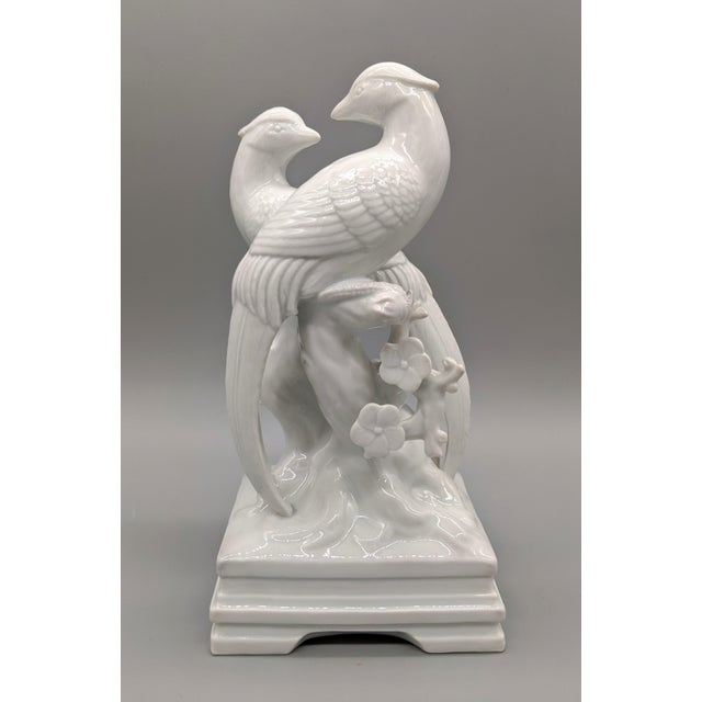 White 1970s Blanc De Chine Fitz & Floyd Birds and Flowers Figurine For Sale - Image 8 of 10
