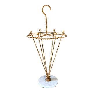 Vintage Italian Gilt Tole Metal Marble Umbrella Stand For Sale
