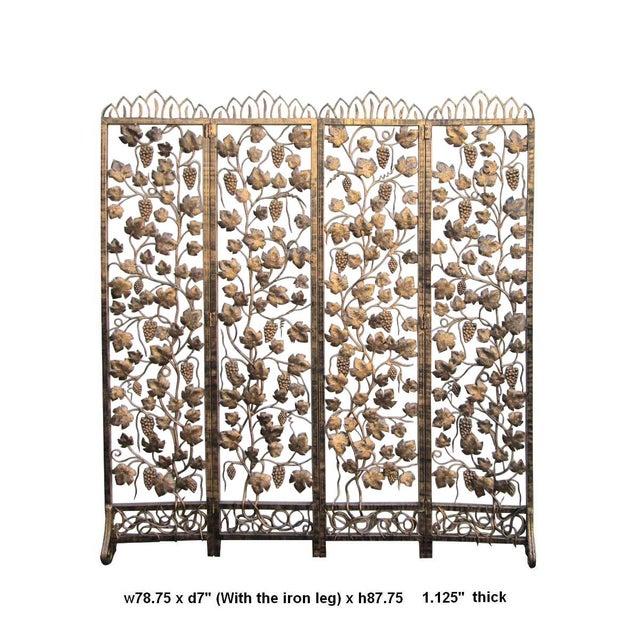 2010s Quality Handmade Golden Color Grape Leave Motif Metal Panel Screen Divider For Sale - Image 5 of 6
