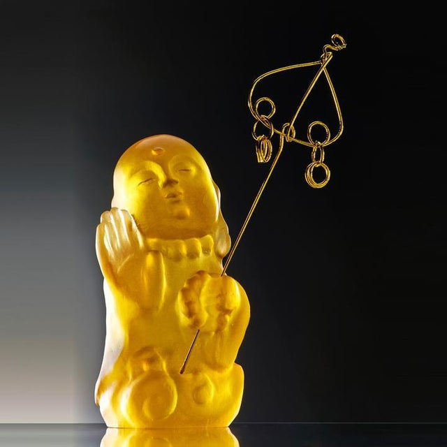 """LIULI Crystal Art Crystal Buddha, """"Joyous and Worry-Free, I Am Not Afraid"""" in Amber For Sale - Image 4 of 4"""