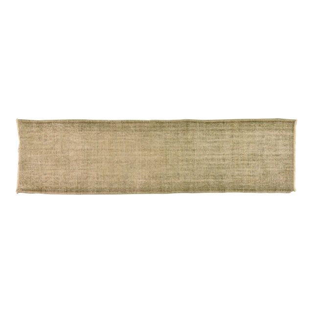 "Vintage Turkish Neutral Hand Spun Wool Runner Rug - 2'11""x10'9"" For Sale"