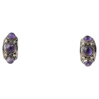 Modernist Amethyst & Silver Earrings For Sale