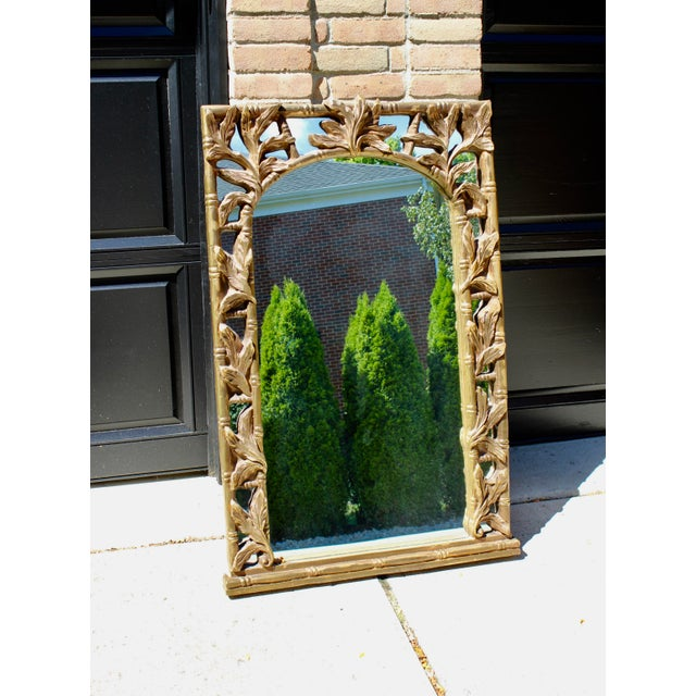 Art Deco Vintage Serge Roche Style Hollywood Regency Gold Bamboo Palm Frond Leaves Mirror For Sale - Image 3 of 7
