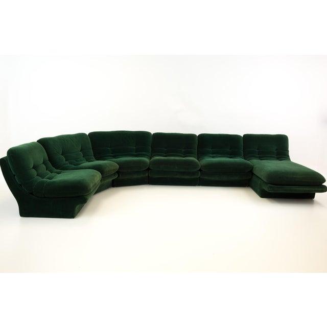 Mid-Century Modern Vladimir Kagen for Preview Hunter Green Velvet Sectional Sofa For Sale - Image 12 of 12