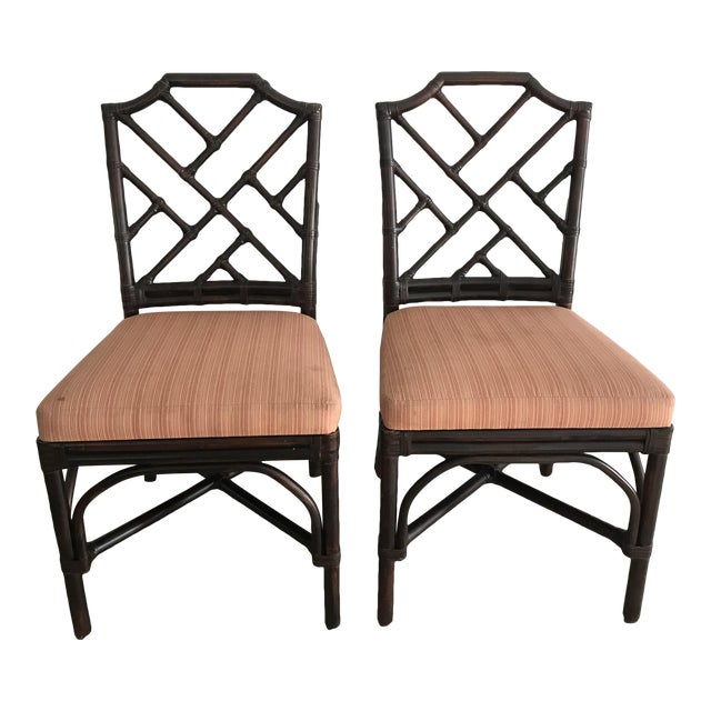 Palecek Pavilion Chippendale Upholstered Side Chairs - A Pair For Sale