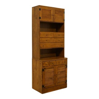 20th Century Early American Ethan Allen Heirloom Nutmeg Maple 30″ Shutter Cabinet With Bookcase For Sale