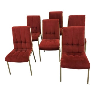 Rust Velvet and Brass Dining Chairs - Set of 6 For Sale