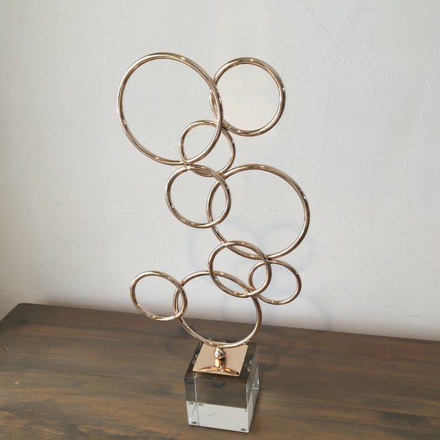 Art Deco Lucite and Copper Colored Decorative Object Sculpture For Sale - Image 3 of 5