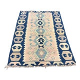 Image of 1960s Antique Turkish Decorative Soft Handwoven Kilim Rug- 3′9″ × 5′4″ For Sale