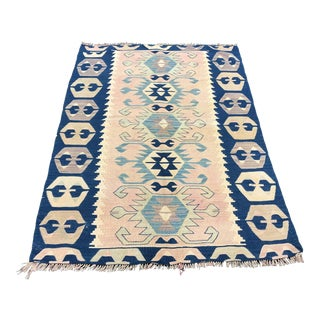 1960s Antique Turkish Decorative Soft Handwoven Kilim Rug- 3′9″ × 5′4″ For Sale