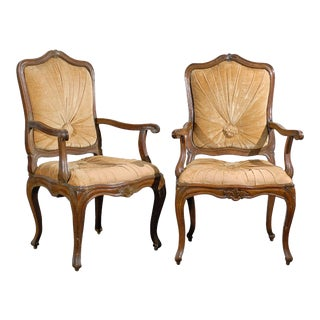 19th Century Italian Walnut Chairs - a Pair For Sale