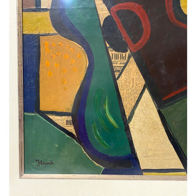1956 Cubist Guitar J Lacoste Mixed Medium on Board Painting For Sale In West Palm - Image 6 of 13