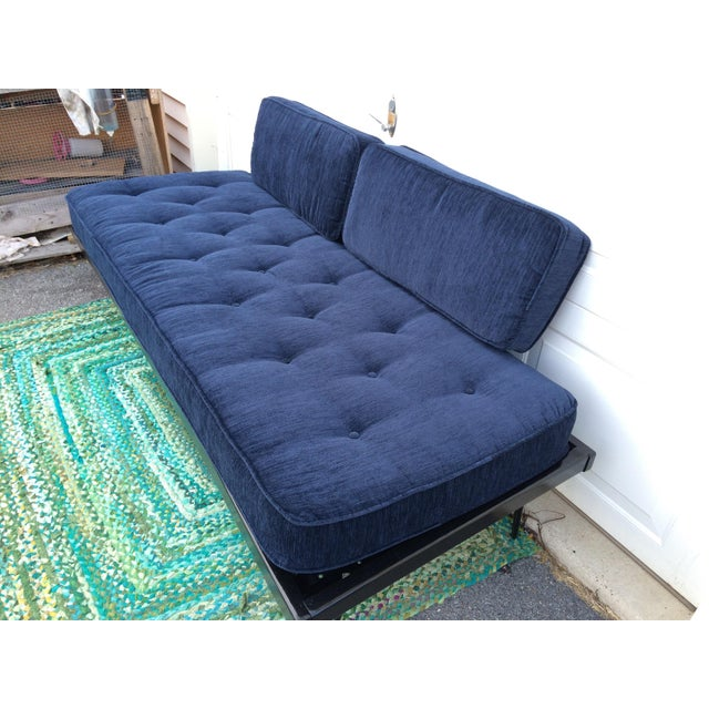 Restored Mid-Century Daybed in Indigo For Sale - Image 10 of 10