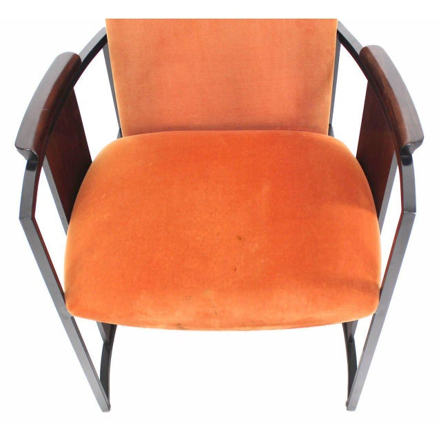Mid-Century Modern Metal and Rosewood Frame Dining Chairs - Set of 6 For Sale - Image 4 of 11