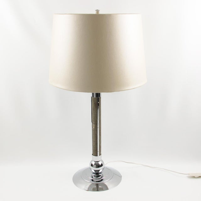 Metal Art Deco 1930s Shagreen Chrome Modernist Table Lamp For Sale - Image 7 of 9