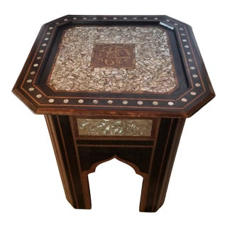 Shell Inlay Syrian End Table For Sale