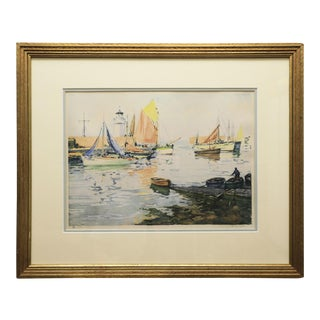 Aquatint Etching by Paul Emile Lecomte, Framed For Sale