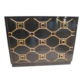 Custom Dorothy Draper Style Ebonized Commode For Sale
