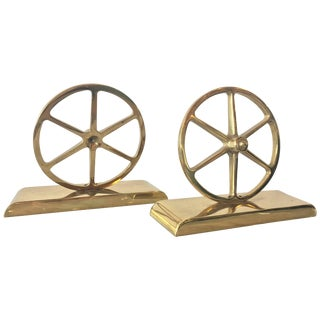 Brass Wagon Wheel Bookends by Virginia Metalcrafters, Pair For Sale