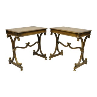 20th Century Regency J. Zonon Mahogany X-Frame Side Tables - a Pair For Sale