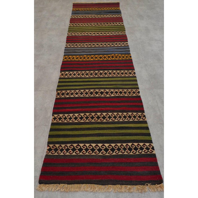 "Anatolian Wool Kilim Long Runner Rug - 2'7"" X 12'3"" - Image 3 of 9"