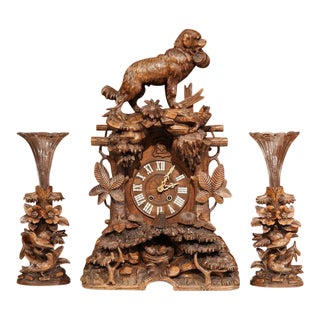 19th Century Black Forest Carved Walnut Cuckoo Clock - Set of 3 For Sale
