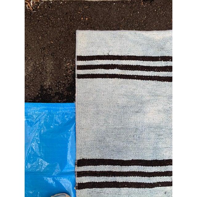 Mid 20th Century Mid 20th Century Vintage Blue & Brown Stripe Hemp Runner-3′6″ × 9′2″ For Sale - Image 5 of 8