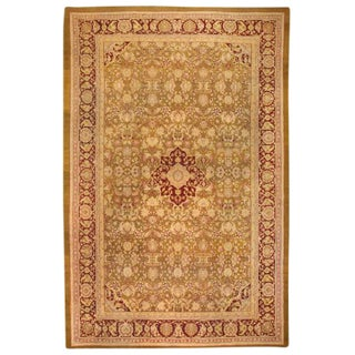 Antique 19th Century Oversize Indian Amritsar Carpet For Sale
