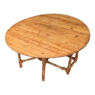 20th Century Primitive Pine Gate Leg Dining Table For Sale