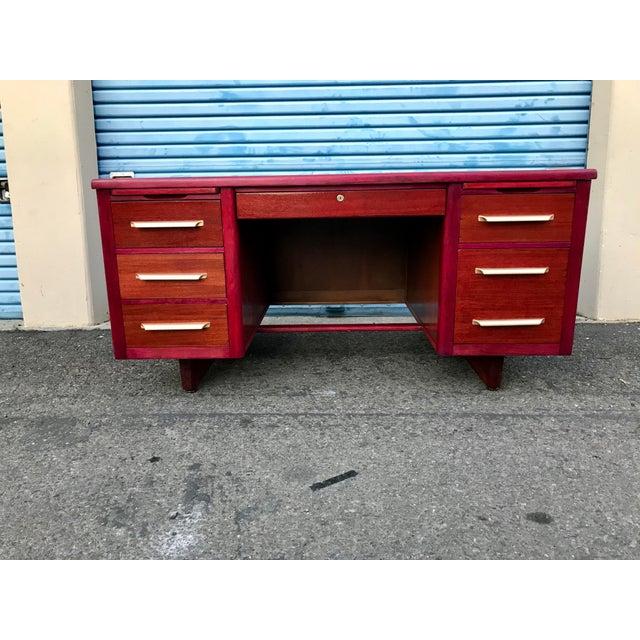 1950s Refinished 'Painted Lady' Pontoon Base Executive Desk For Sale - Image 13 of 13