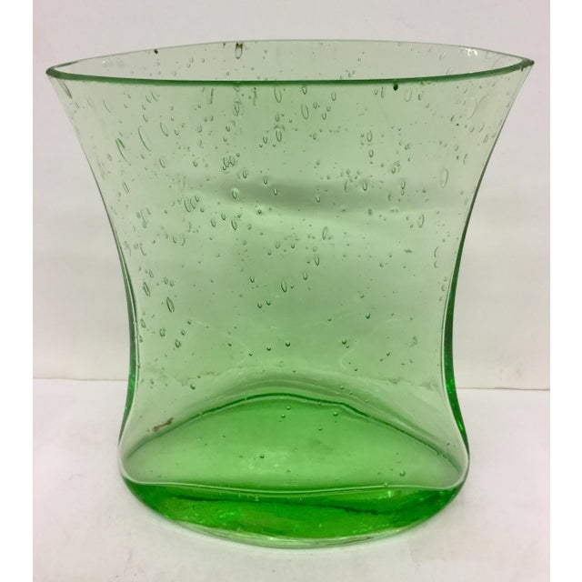 Hand Blown Green Glass Vase For Sale - Image 9 of 9