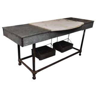 Early 20th Century Industrial Marble and Steel Island