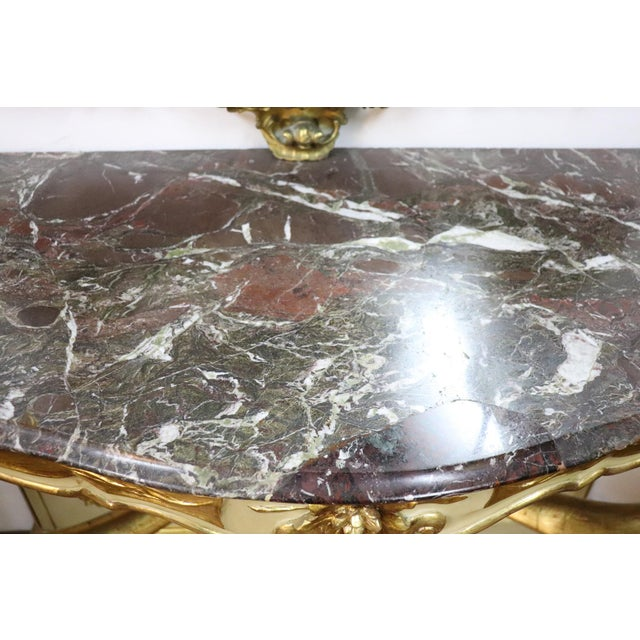 19th Century Italian Golden and Lacquered Wood Console Table With Marble Top For Sale - Image 10 of 11