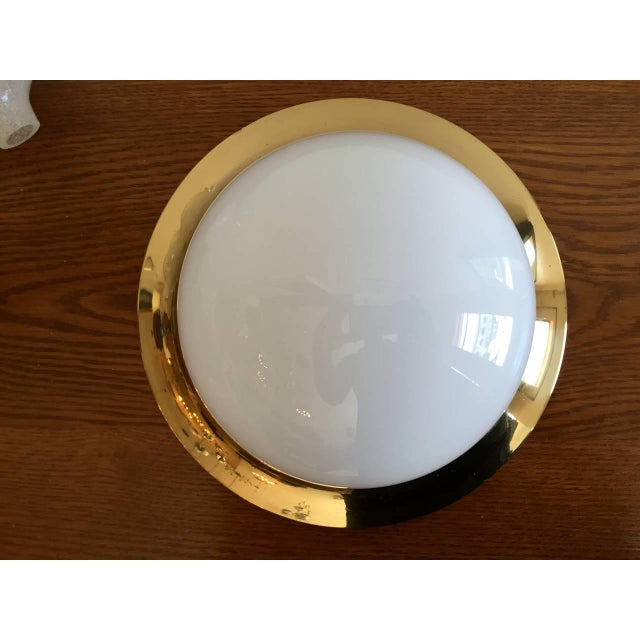 Brass Space Age Austrian Flush Light For Sale - Image 8 of 9