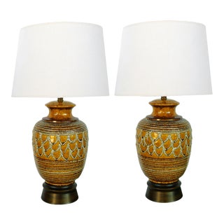 1960's Italian Ochre-Glazed Jar-Form Lamps With Lava-Glaze Decoration - a Pair For Sale