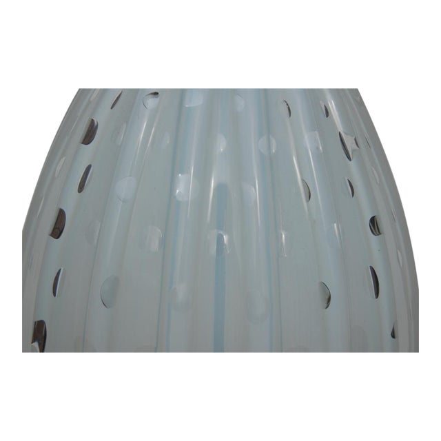 Vintage Murano glass table lamp. WHITE OPALINE Venetian glass is quite rare and magical - there is the slightest hint of...