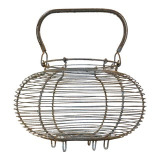 Antique French Wire Egg Decorative Basket With Handle, Late 1800s For Sale