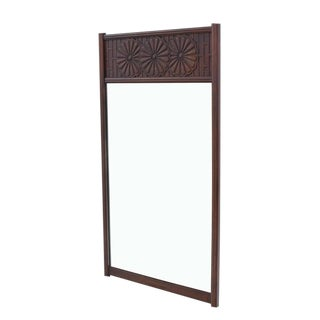 John Widdicomb Carved Walnut Daisy Pattern Wall Mirror For Sale