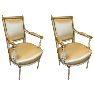Pair of Louis XVI Style Armchairs Attributed to Maison Jansen For Sale
