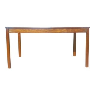 Vintage Burl Wood Parquet Brass Campaign Hardware Dining Table For Sale
