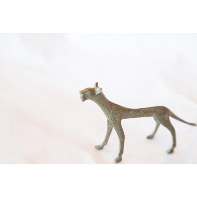Mid 20th Century Vintage African Bronze Casting of Panther For Sale - Image 5 of 6