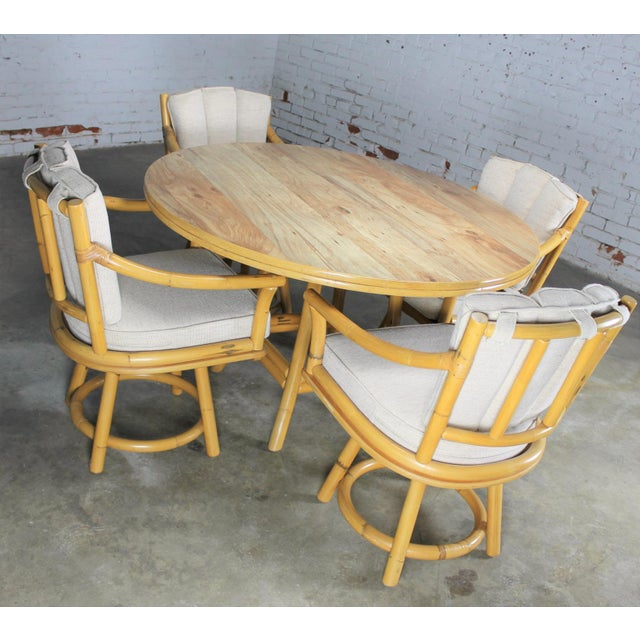 Mid-Century Ficks Reed Co. Round Rattan Game Table & Chairs - Image 3 of 11