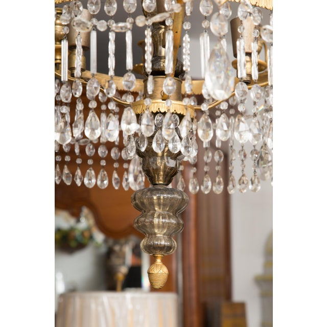 19th Century Gilt Metal and Crystal Baltic Chandelier For Sale - Image 11 of 13
