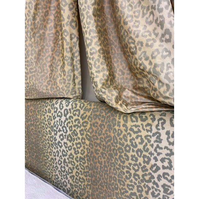 Modern Contemporary Cheetah Upholstered Queen Bed with Italian Gold Leaf Corona For Sale - Image 3 of 9