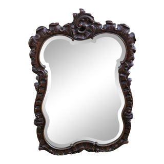 Antique French Rococo Hand Carved Oak Beveled Framed Wall Mirror For Sale