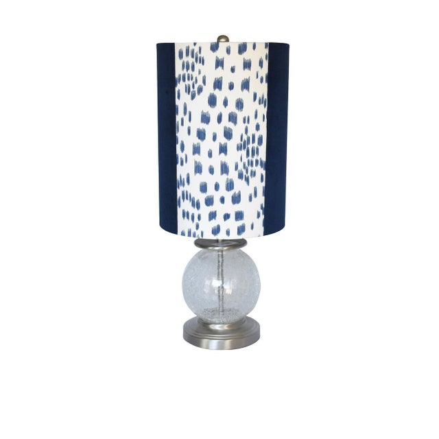 - New, custom, handcrafted lampshade - Fabric: Blue Les Touches and Navy Velvet. - Lining: White Lining - Fitting: Silver...